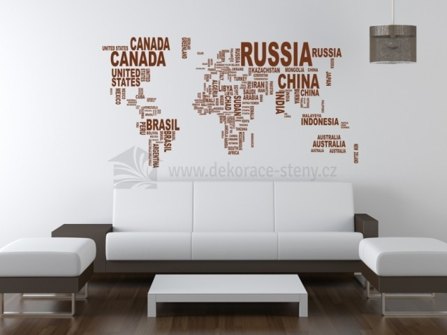 Samolepky Na Zed Mapa Sveta Ze Slov Dekorace Steny Cz